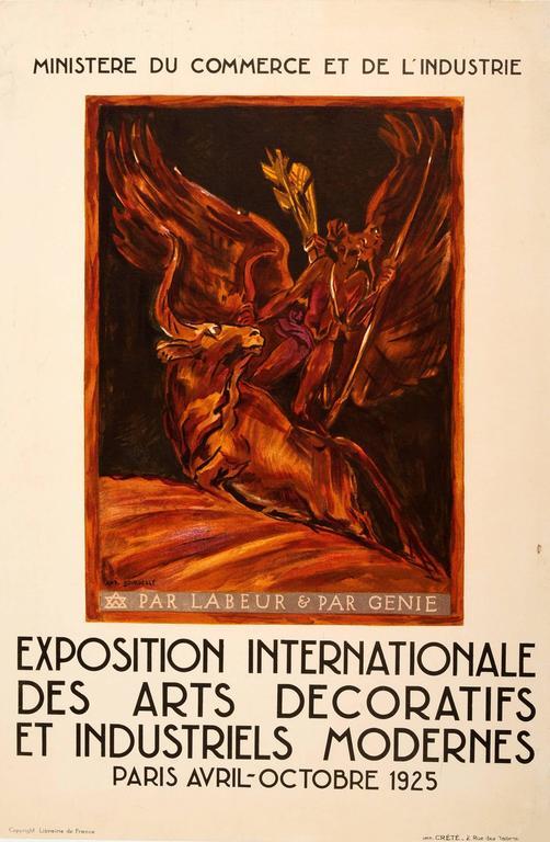 Original Vintage Modern Decorative And Industrial Arts Paris Exhibition Poster