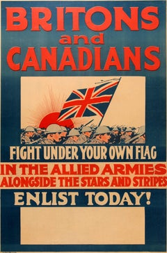 Original World War One Poster - Britons And Canadians Fight In The Allied Armies