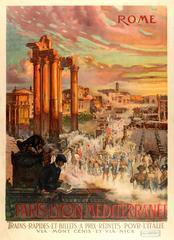 Original Antique Paris Lyon Mediterranee PLM Railway Travel Poster - Rome Italy