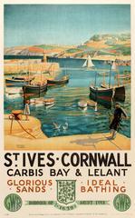 Original GWR Great Western Railway Poster - St Ives Cornwall Carbis Bay & Lelant