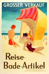 Original Art Deco Poster For A Big Sale Of Holiday Travel & Swimming Accessories