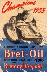Original Vintage Bret Oil Motor Racing Sport Poster - Motorcycle Champions 1953