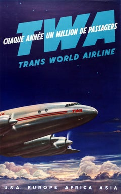 Original Vintage TWA Trans World Airline Travel Poster - USA Europe Africa Asia