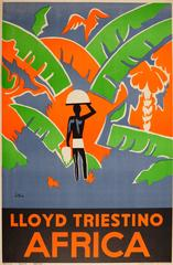 Original Vintage Cruise Ship Travel Advertising Poster - Lloyd Triestino Africa