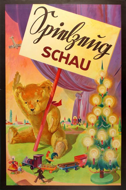 Original Vintage Children's Toy Exhibition Poster Featuring a Teddy Bear & Train