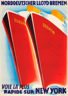 Original Art Deco Cruise Ship Travel Poster - Fastest Ocean Liners to New York