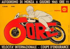 Original Vintage Sport Poster For The Motorcycle Racing Endurance Cup At Monza