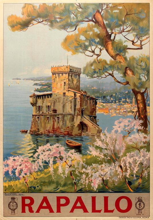 Vincenzo Alicandri Print - Original Travel Poster For Rapallo Italy - Castello Sul Mare / Castle On The Sea