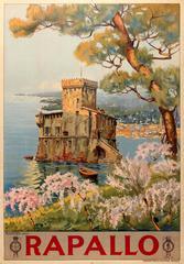 Original Travel Poster For Rapallo Italy - Castello Sul Mare / Castle On The Sea