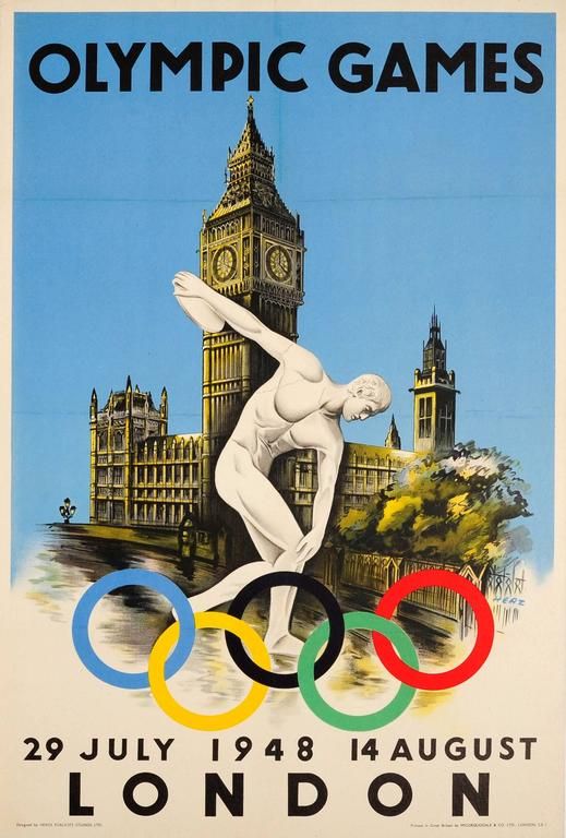 Walter Herz Print - Original 1948 London Olympic Games Sport Poster Featuring Discobolus Of Myron