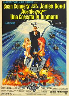 Original Vintage James Bond Movie Poster For The 007 Film, Diamonds Are Forever