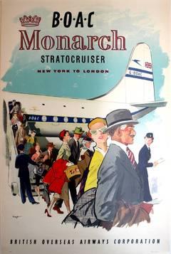 Original Travel Advertising Poster: BOAC Monarch Stratocruiser New York - London