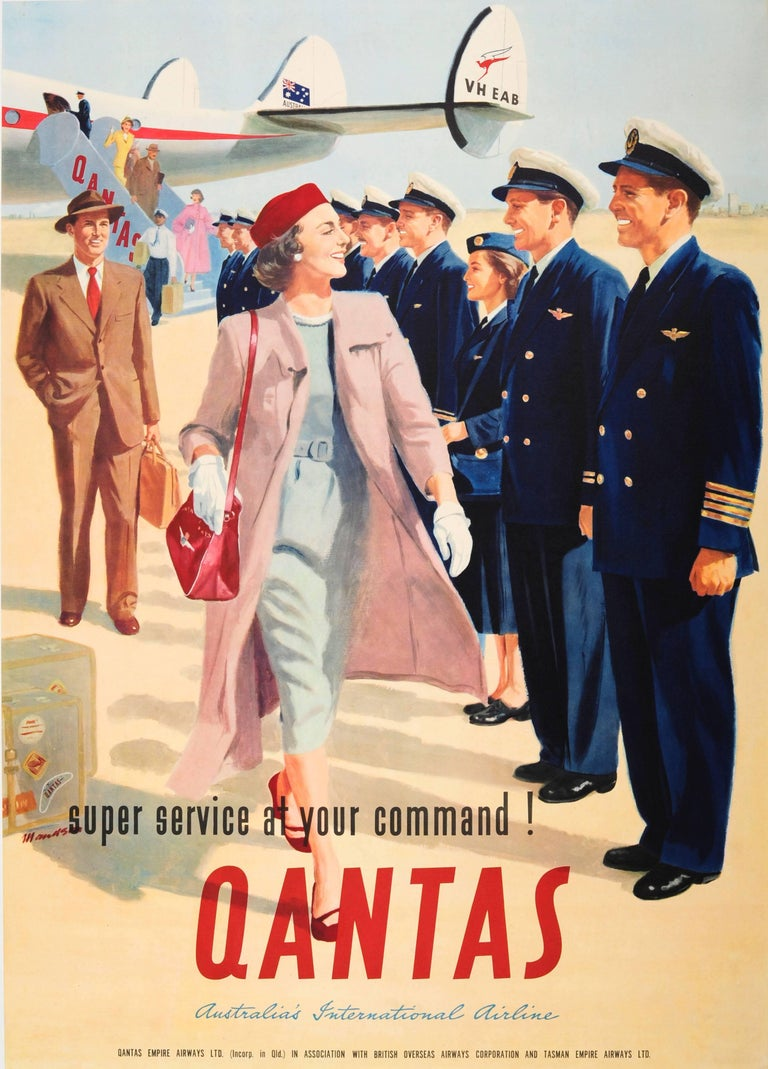 "Original Vintage Australian Airline Travel Poster For Qantas ""At Your Command!"""
