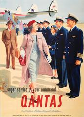 """Original Vintage Australian Airline Travel Poster For Qantas """"At Your Command!"""""""