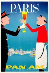 Original Vintage Pan American World Airways Travel Poster - Pan Am Paris France