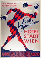 Original Art Deco Vienna Carnival Poster For Edith Heinemann At Hotel Stadt Wien