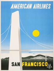Original Vintage American Airlines Travel Poster For San Francisco California