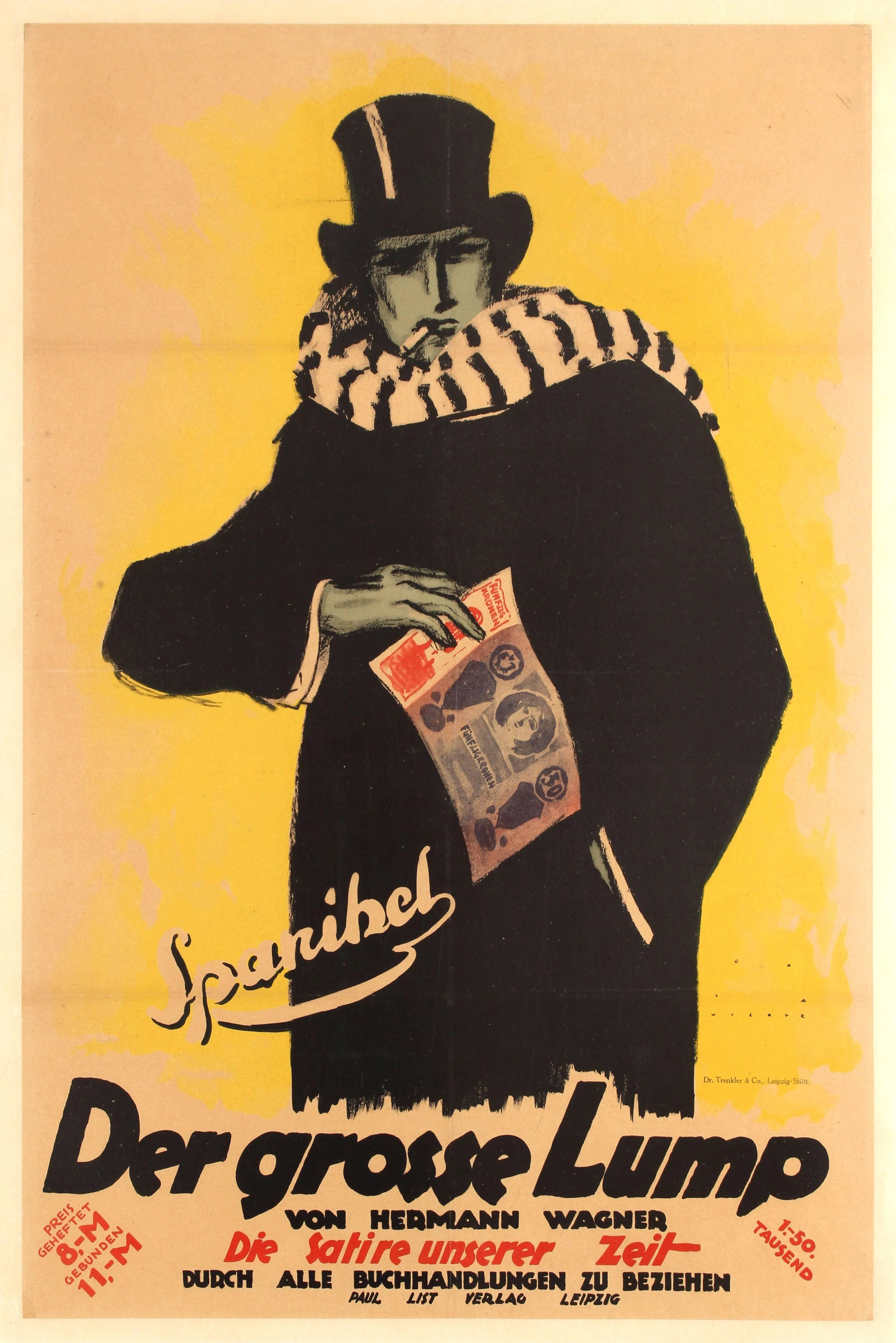 Original Vintage German Book Advertising Poster For Spanihel The Big Lump Satire