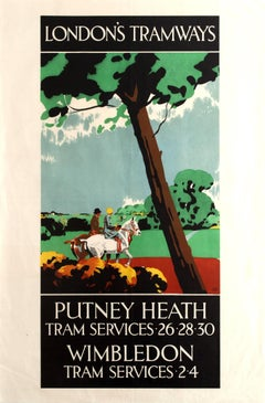 Original Vintage Art Deco London Tramways Poster For Putney Heath And Wimbledon