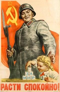 Original Vintage Soviet Propaganda Poster - Grow Up Peacefully! - To Peace