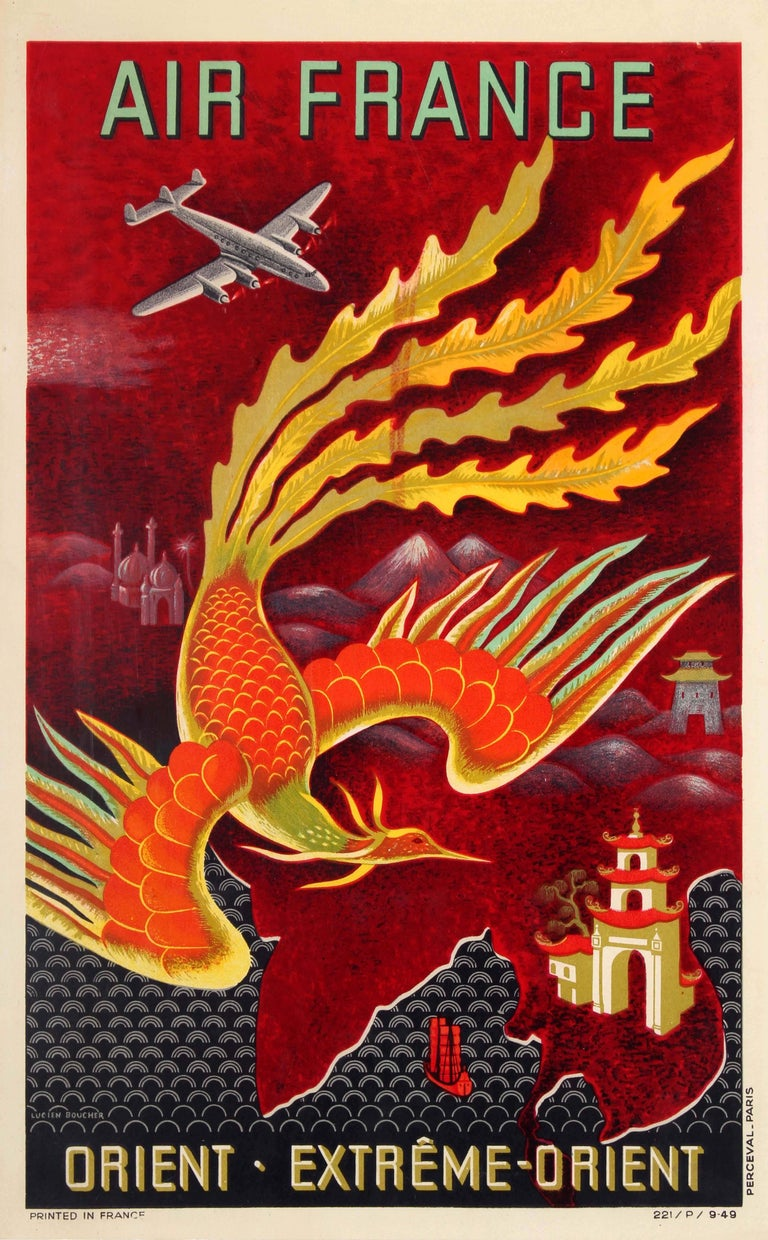 Original Vintage Air France Poster For The Orient Extreme Orient - Far East Asia
