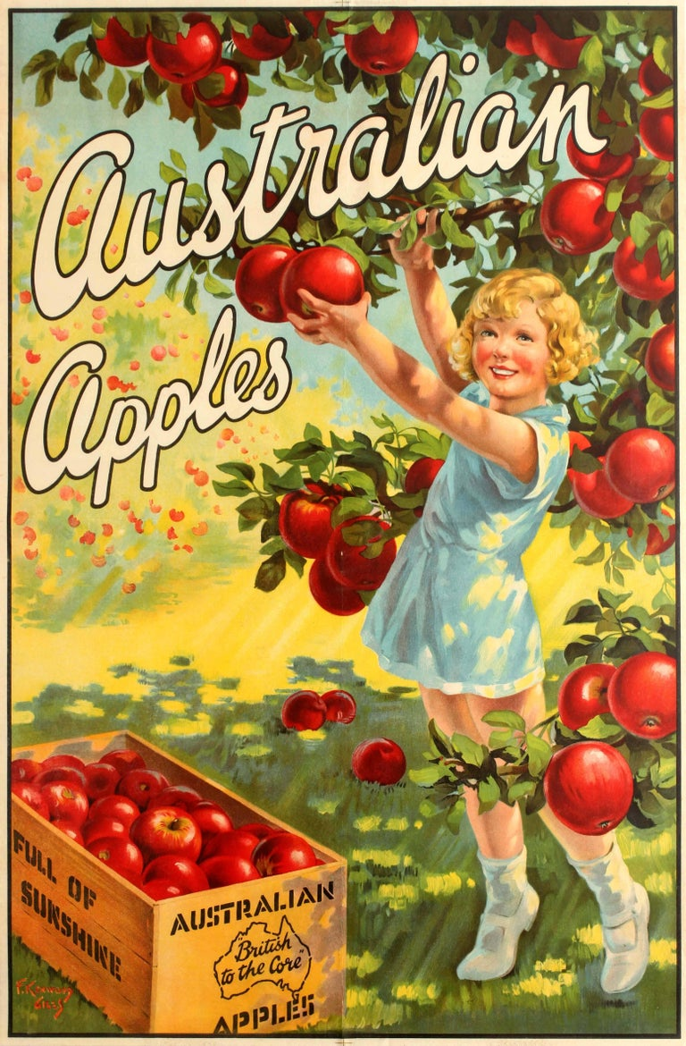 F. Giles Kenwood Print - Original Vintage Advertising Poster For Australian Apples - British to the Core
