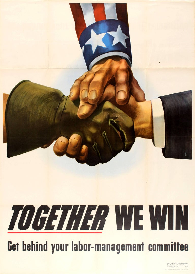 Reiner Allen Print - Original World War Two Propaganda Poster - Together We Win - Labor Management