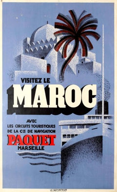 Original Vintage Travel Poster Advertising Paquet Shipping Tours - Visit Morocco