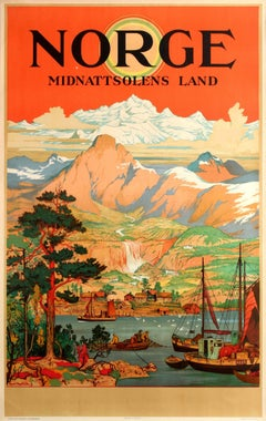 Original Norge Statsbaner Railway Poster For Norway The Land Of The Midnight Sun