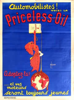 Large Original Vintage Art Deco Automobile Advertising Poster For Priceless Oil