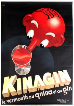 Original Art Deco Drink Advertising Poster For Kinagin Vermouth Au Quina Et Gin