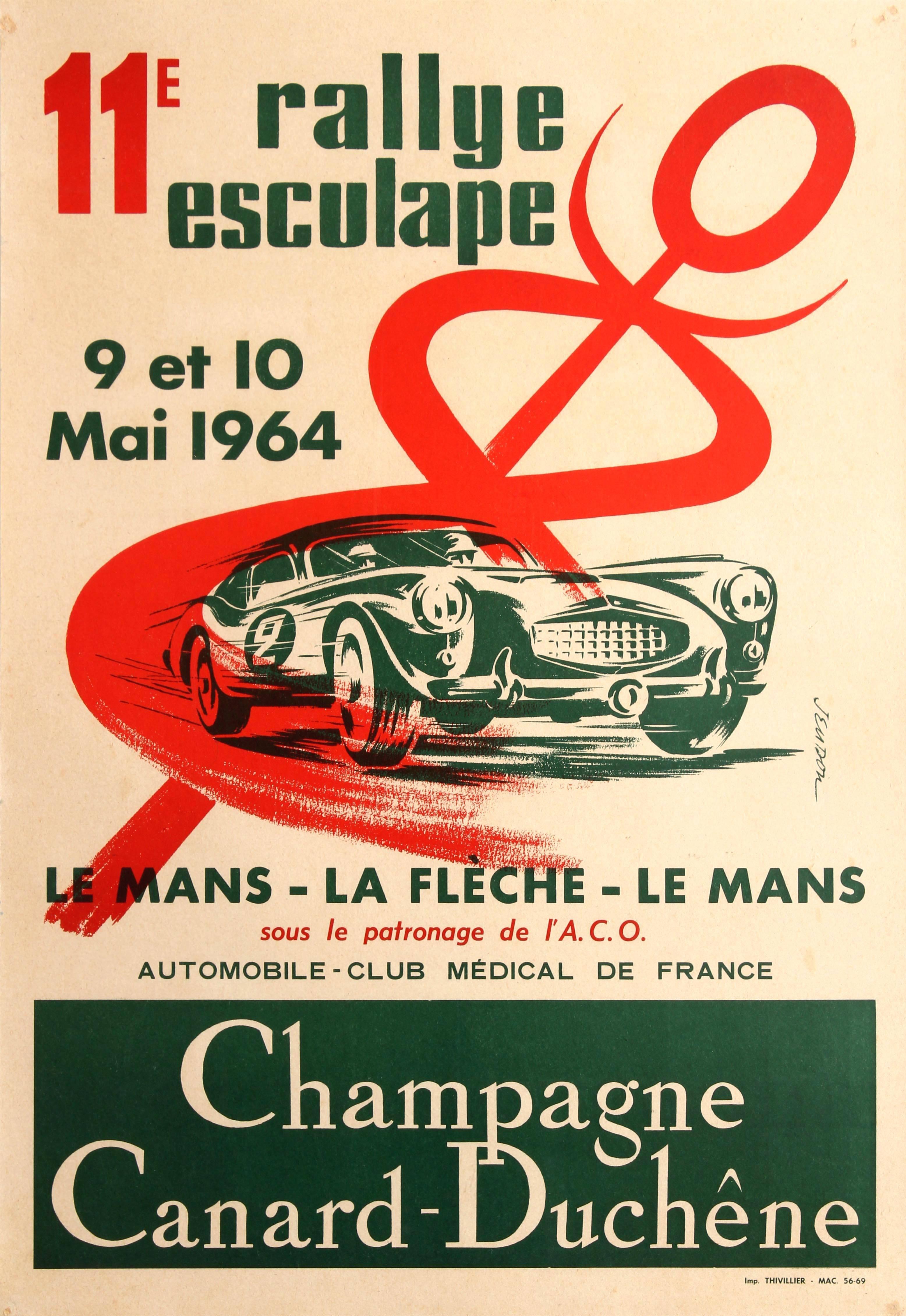 Original Sports Car Racing Poster For The 11th Rally Esculape Le Mans La Fleche