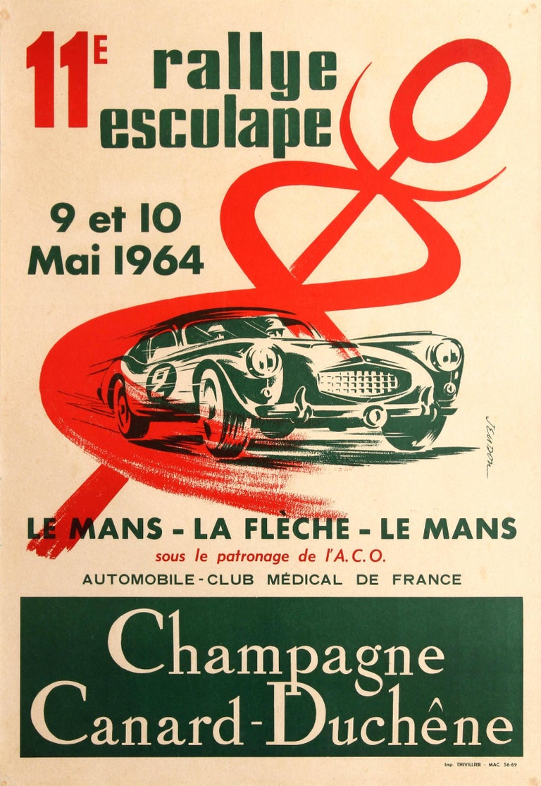 Original Sports Car Racing Poster For The 11th Rally Esculape Le Mans La Fleche