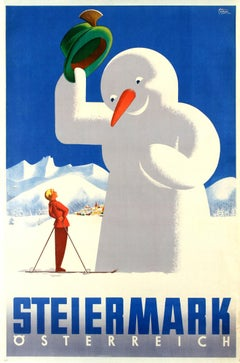 Original Vintage Skiing And Winter Sport Poster For Steiermark / Styria Austria