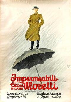Large Original Vintage Poster For Impermeabili Ettore Moretti Milano Raincoats