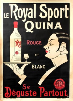 Large Original French Wine Liquor Aperitif Drink Poster For Le Royal Sport Quina