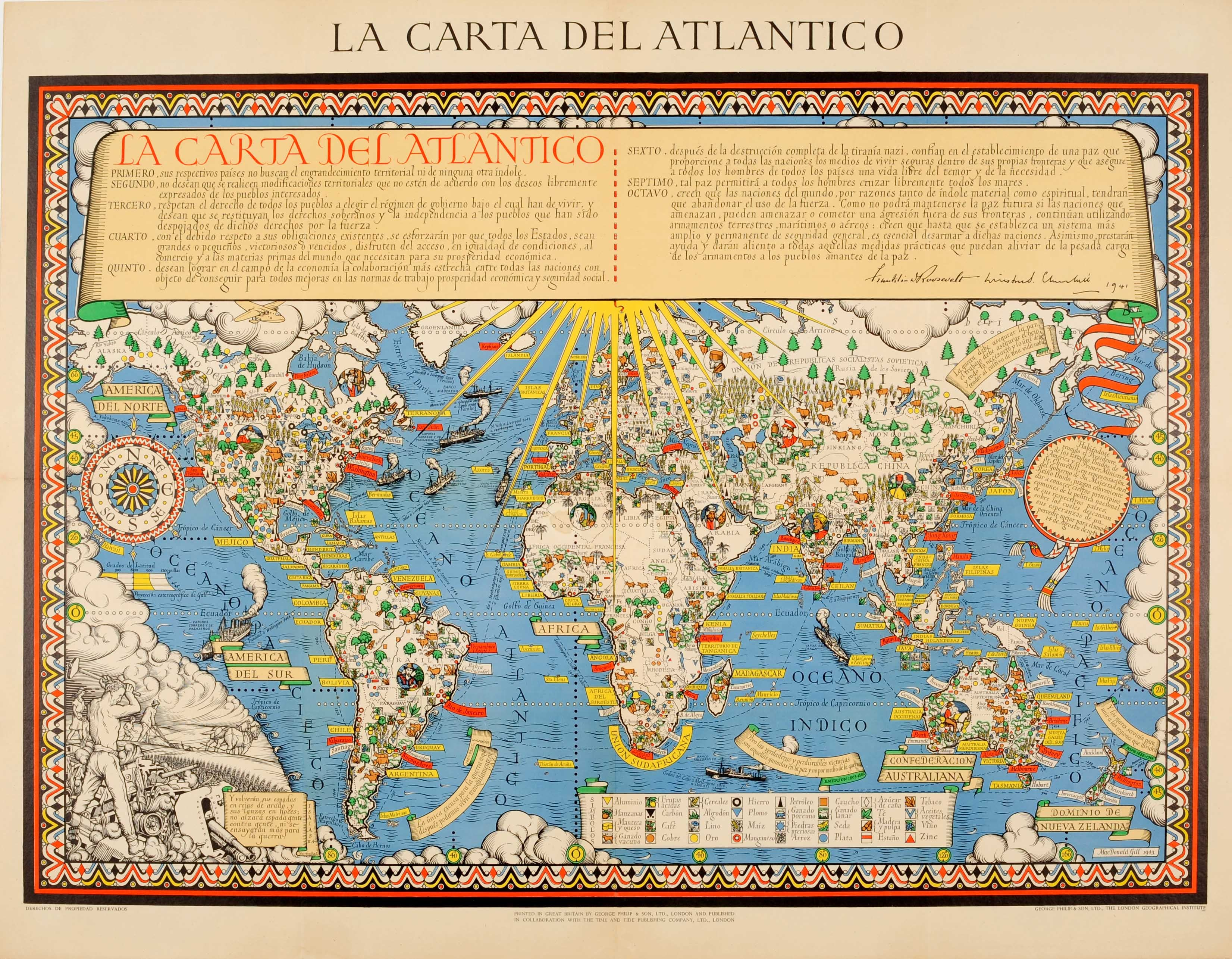 Original WWII Illustrated Map Poster - Time And Tide Map Of The Atlantic Charter