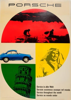 Original Vintage Car Poster Advertising Porsche Service Throughout The World