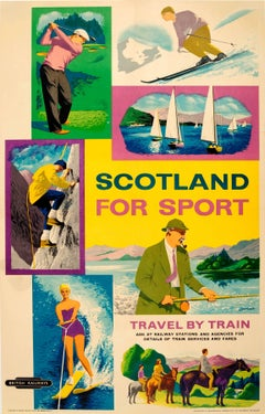Original Vintage Scotland For Sport British Railways Poster: Golf Skiing Sailing