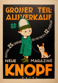 Original Vintage Poster By Hunziker for a Sale at Knopf Children's Shop in Basel