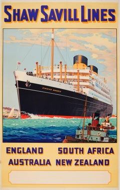 Original Shaw Savill Lines Poster For England South Africa Australia New Zealand