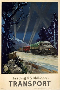 Original Vintage British WWII Food Convoy Poster - Feeding 45 Millions Transport