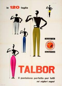 Large Original Vintage Fashion Advertising Poster For Talbor Pantalone Trousers