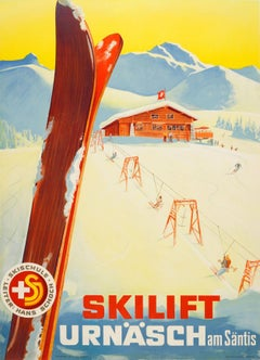 Original Vintage Switzerland Skiing Poster - Skilift Urnash Am Santis Skischule