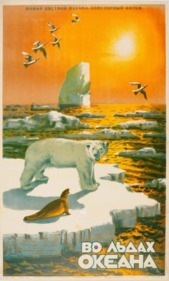 Original Vintage Documentary Movie Poster For The Icy Ocean / Life In The Arctic