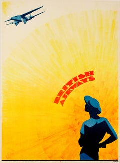 Original Vintage Art Deco Design Golden Age Of Travel Poster For British Airways