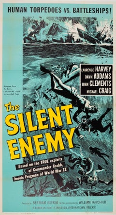 Original Movie Poster For The Silent Enemy Based On WWII Frogman Commander Crabb