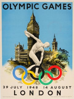 Original Vintage 1948 London Olympic Games Poster Featuring Discobolus Of Myron