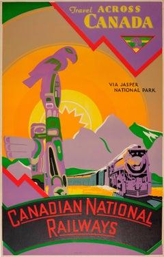 Original Canadian National Railways Poster For Canada Via Jasper National Park