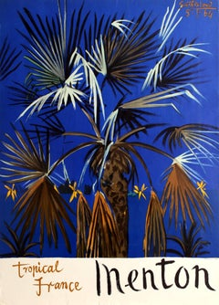 Original Vintage French Riviera Travel Poster Advertising Menton Tropical France